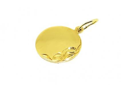 """Prívesok """"Kruh"""" zo žltého zlata - vhodný na gravírovanie"""