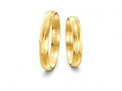 Svadobné obrúčky šírka 3,50mm zo žltého zlata s vlnovkou