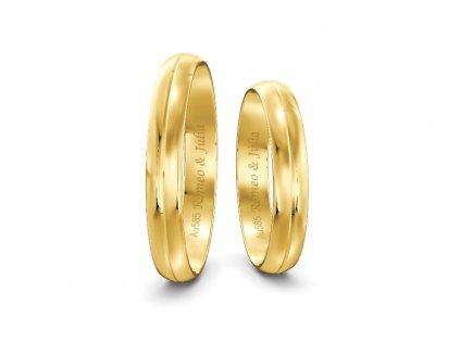 Svadobné obrúčky šírka 3,50mm zo žltého zlata so stredovou čiarou