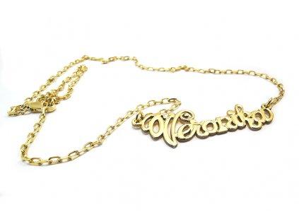 Retiazka s menom Veronika zo žltého zlata  +servis + krabička + darček