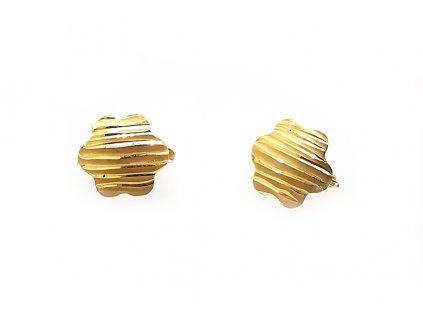 Zlaté náušnice žlté  +servis + krabička + darček