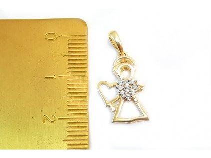 Prívesok anjelika zo žltého zlata