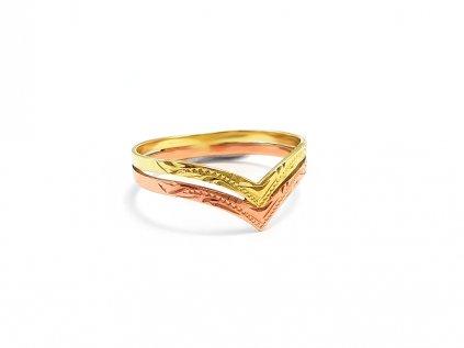 Zlatý prsteň VZOR 0/2 žlto-ružový