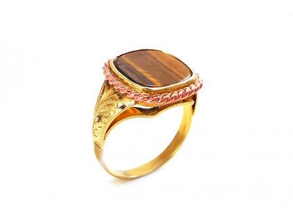 Zlatý prsteň TIGRIE OKO žltý  +doživotný servis + krabička, darček
