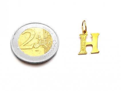 Zlatý prívesok PÍSMENO H žltý  +servis + krabička