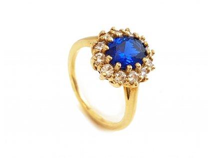 Zlatý prsteň VZOR 279 modrý  + krabička