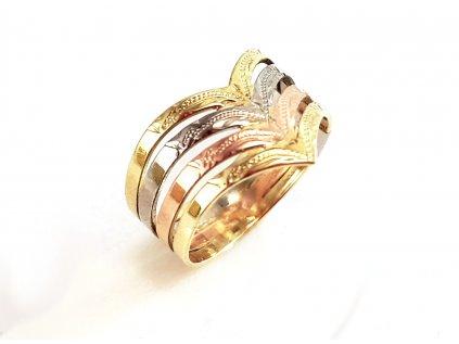 Zlatý prsteň VZOR 0/4 kombinovaný žlto-bielo-červený