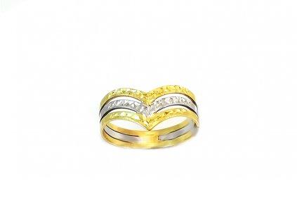 Zlatý prsteň VZOR 0/3 žlto-biely
