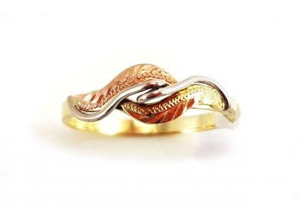 Jemný prsteň VZOR 4  z červeno-bielo-žltého zlata