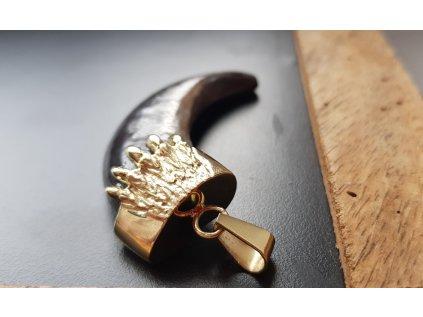 Medvedí pazúr so závesom zo žltého zlata  +doživotný servis + krabička, darček