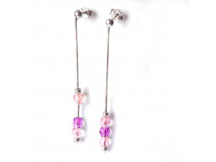 Strieborné visiace náušnice s ružovo-fialovými zirkónmi  +doživotný servis + krabička