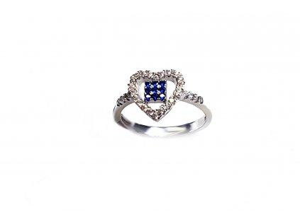 Strieborný prsteň v tvare srdiečka s modrými kameňmi  +servis + krabička