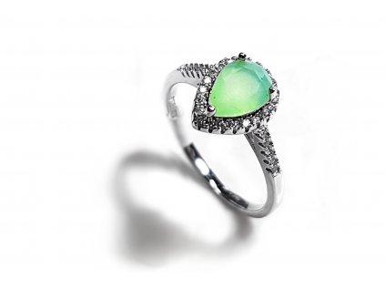 Striebroný prsteň so svetlo zeleným zirkónom v tvare slzičky  +servis + krabička