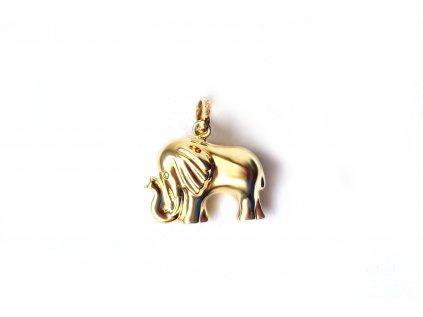 """Zlatý prívesok """"slon"""" žltý  +doživotný servis + krabička"""