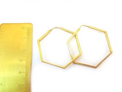 Extravaganté náušnice v tvare 6-uholníka zo žltého zlata  +servis + krabička