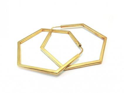 Zlaté náušnice 6-UHOLNÍKY žlté  +servis + krabička
