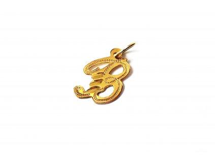 Prívesok v tvare písmena B zo žltého zlata  +servis + krabička