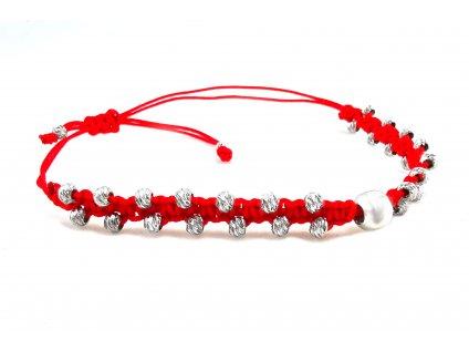 Strieborný červený náramok proti urieknutiu s perličkou  +doživotný servis + krabička