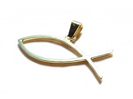 Prívesok Ichthys, kresťanský symbol ryby zo žltého zlata  +doživotný servis + krabička