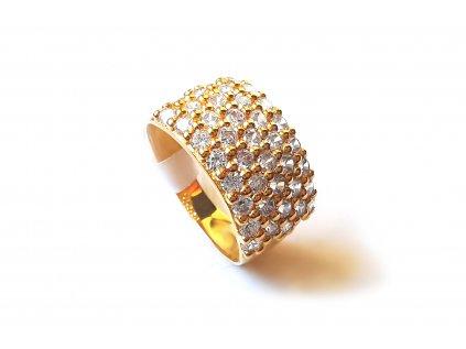Krásny model dámskeho prsteňa zo žltého zlata posiaty zirkónmi  +servis + krabička