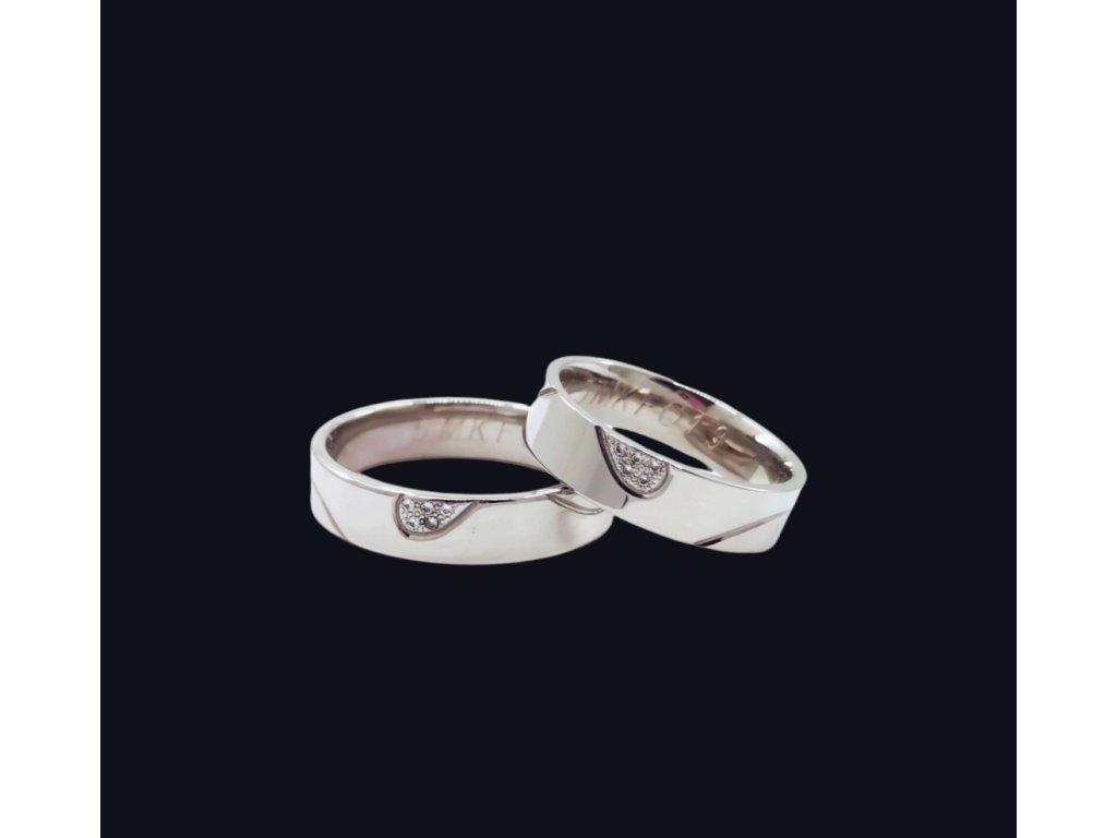 Svadobné obrúčky Heart v bielom zlate