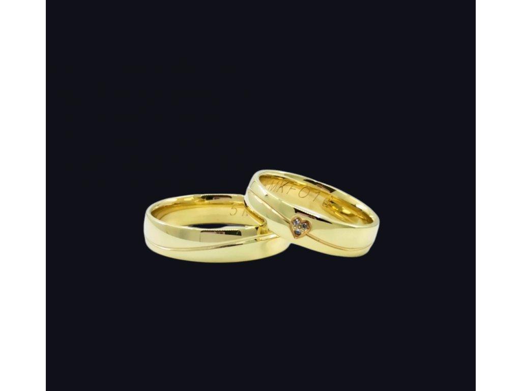 Svadobné obrúčky Love v žltom zlate