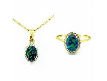 Zlatá súprava so zeleným opálom Vert