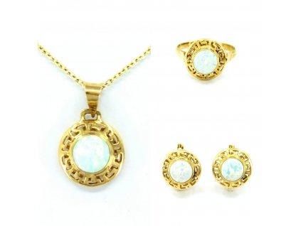 Zlatá súprava s bledo-modrým opálom Zodiak