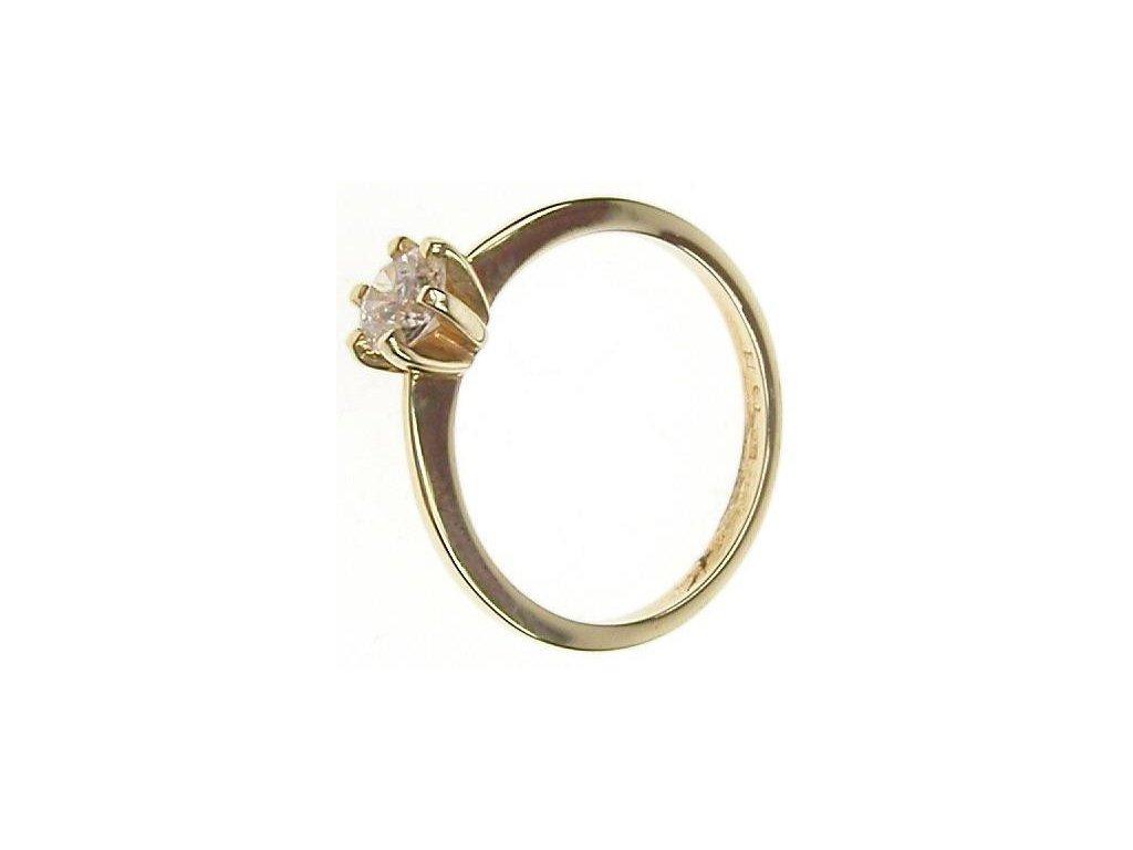 Prsten zlatý s bílým kamínkem 43/82486