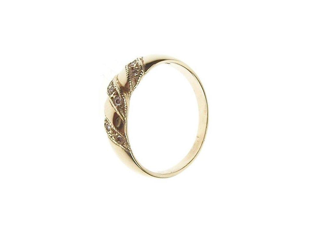 Prsten zlatý s bílými kamínky 43/80774