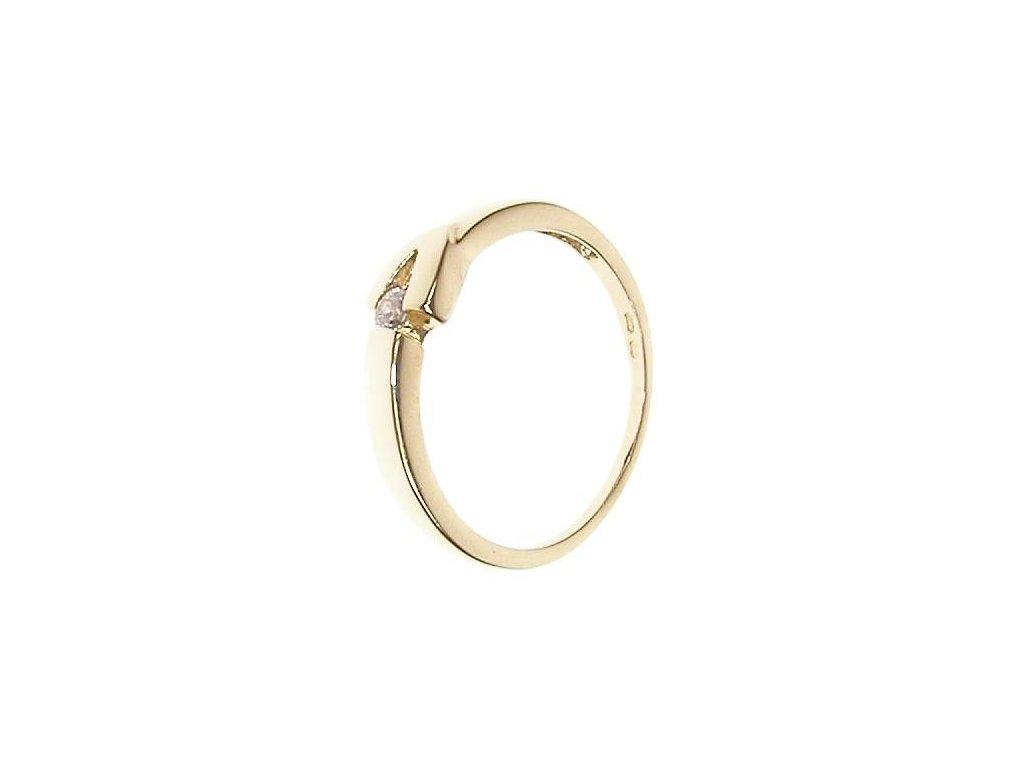 Prsten zlatý s bílým kamínkem 13/52928