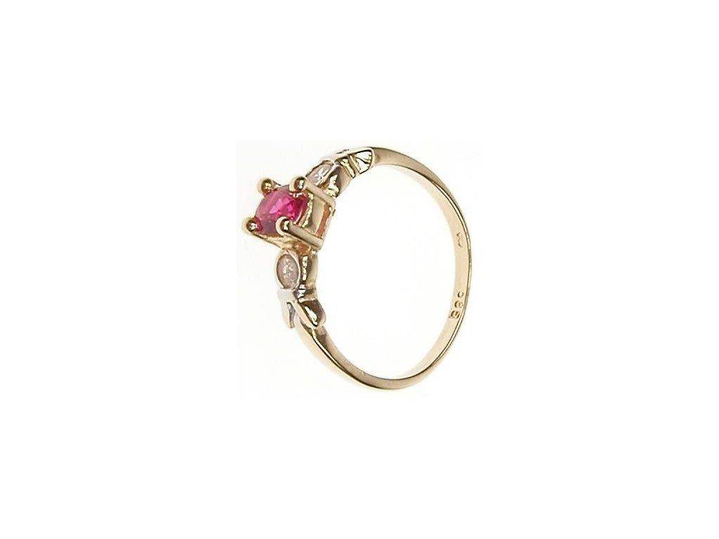 Prsten zlatý se zirkony a rubínem 1/15313