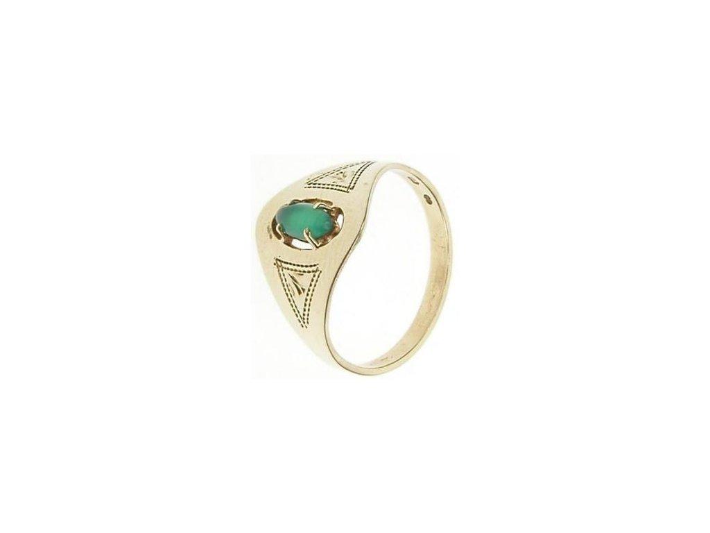 Prsten zlatý s chryzoprasem 1/30570