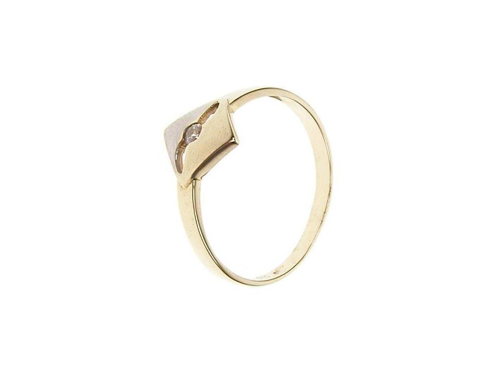 Prsten žlutobílé zlato se zirkonem 13/46465