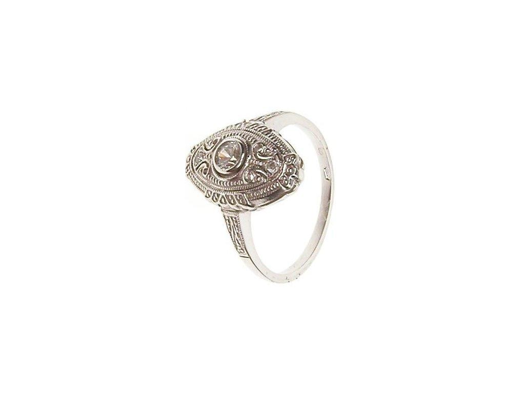 Prsten z bílého zlata se zirkony 13/54080