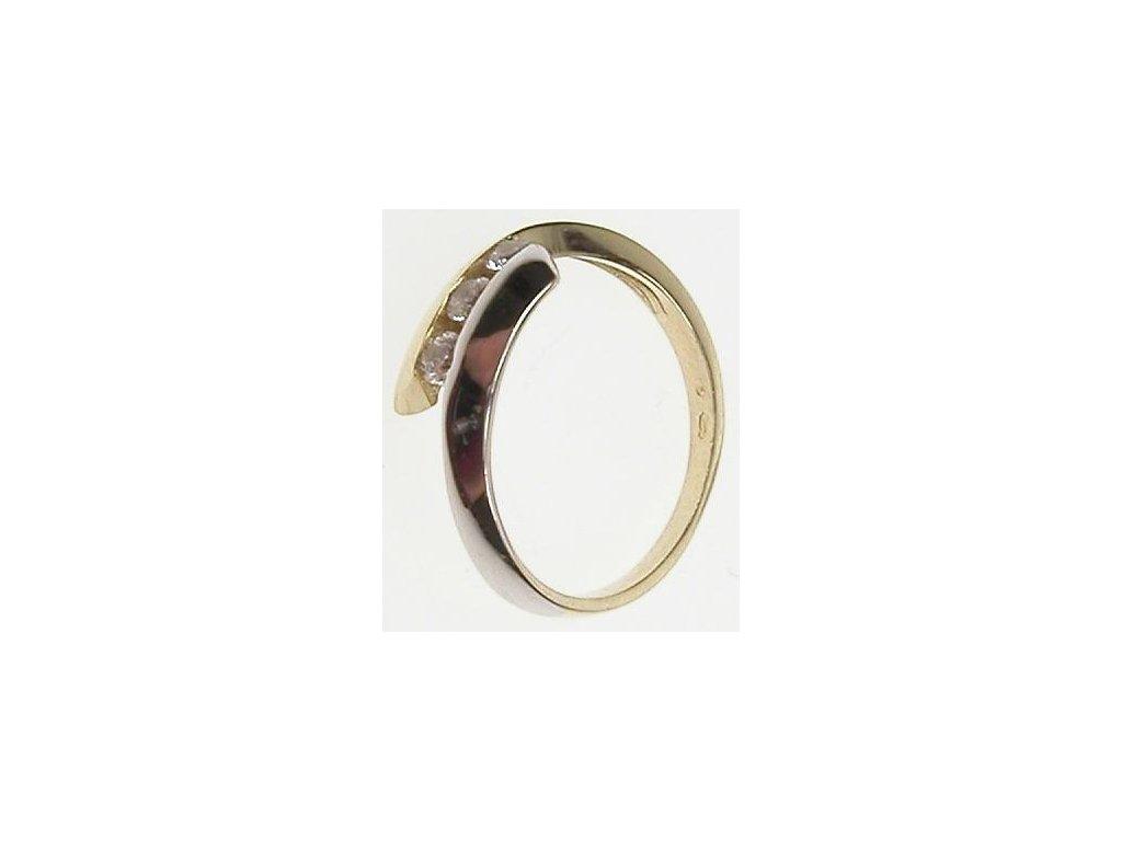 Prsten ze žlutého zlata se zirkony, částečně zlaceno bílým zlatem 43/95338