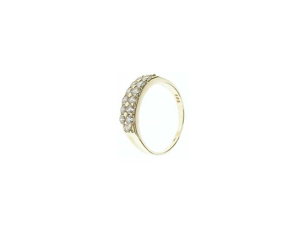 Prsten zlatý se zirkony 43/96061