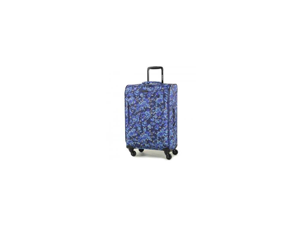 Cestovní kufr MEMBER'S TR-0131/3-M - modrá/Flowers