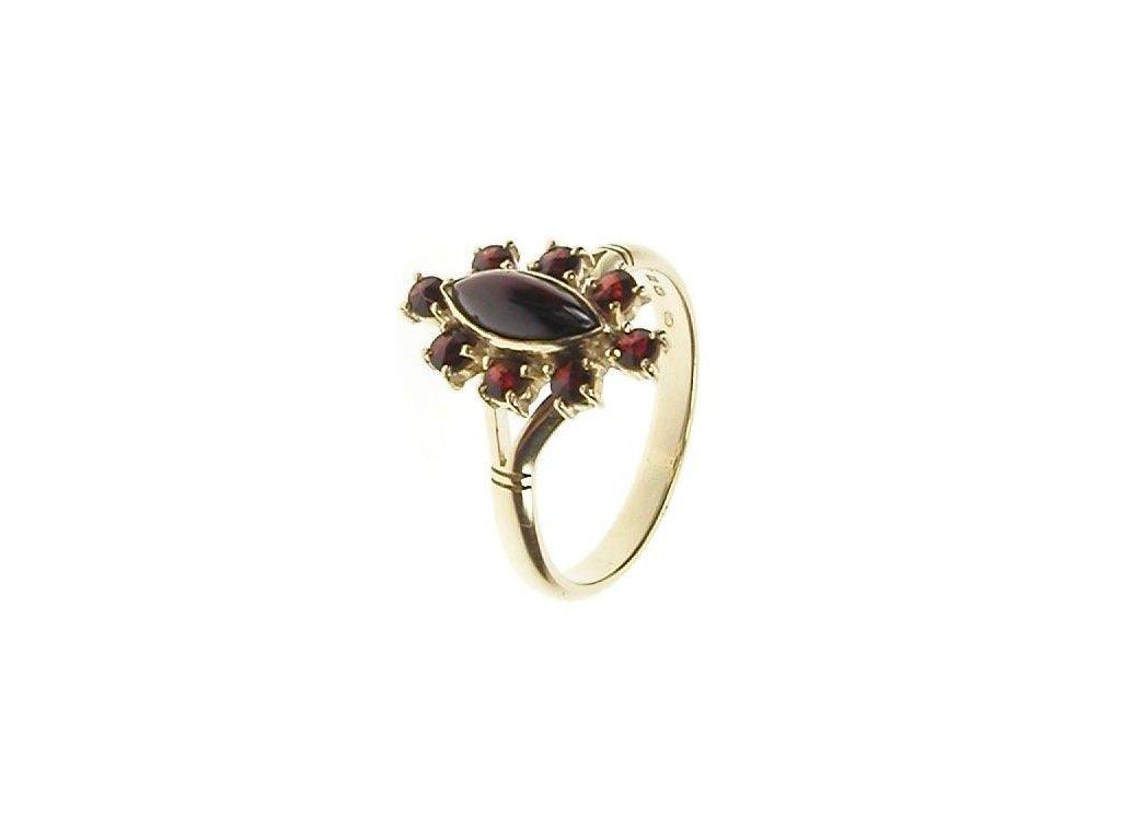 Prsten zlatý s českým granátem a almandinem 13/47987