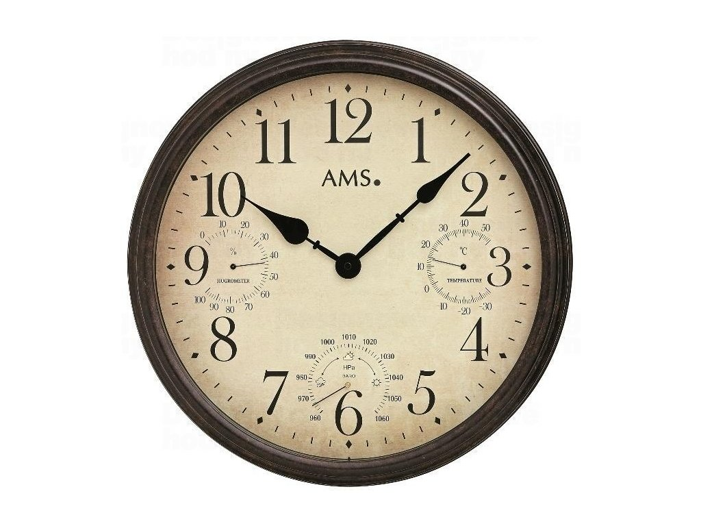 Nástěnné hodiny 9463 AMS meteostanice 42cm