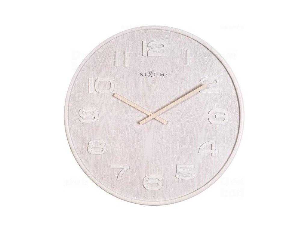 Designové nástěnné hodiny 3096wi Nextime Wood Wood Medium 35cm