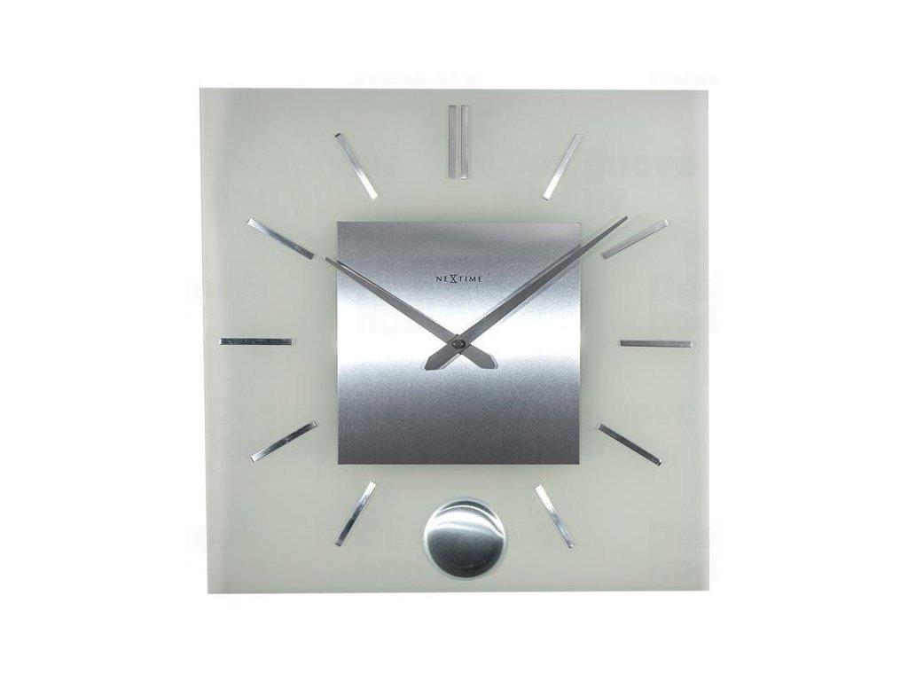 Designové nástěnné hodiny 3146 Nextime Stripe Pendulum Square 40cm