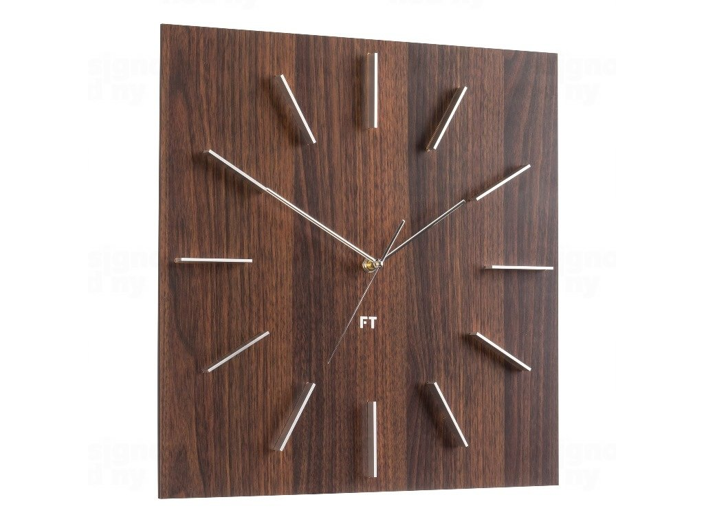 Designové nástěnné hodiny Future Time FT1010WE Square dark natural brown 40cm