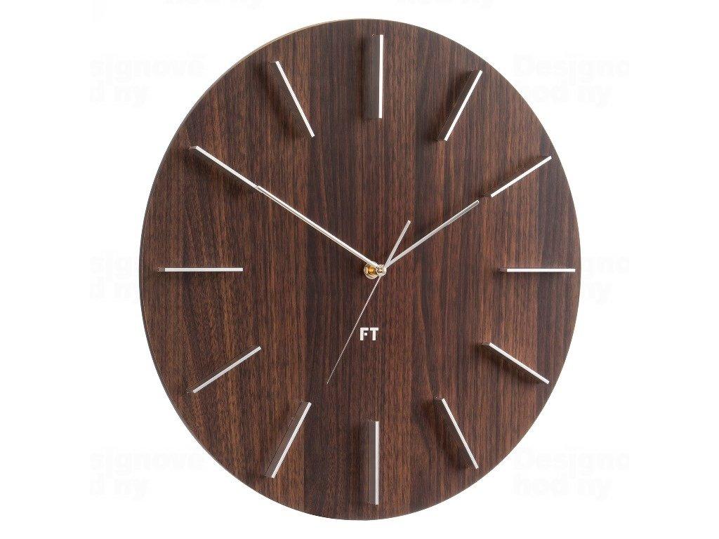 Designové nástěnné hodiny Future Time FT2010WE Round dark natural brown 40cm