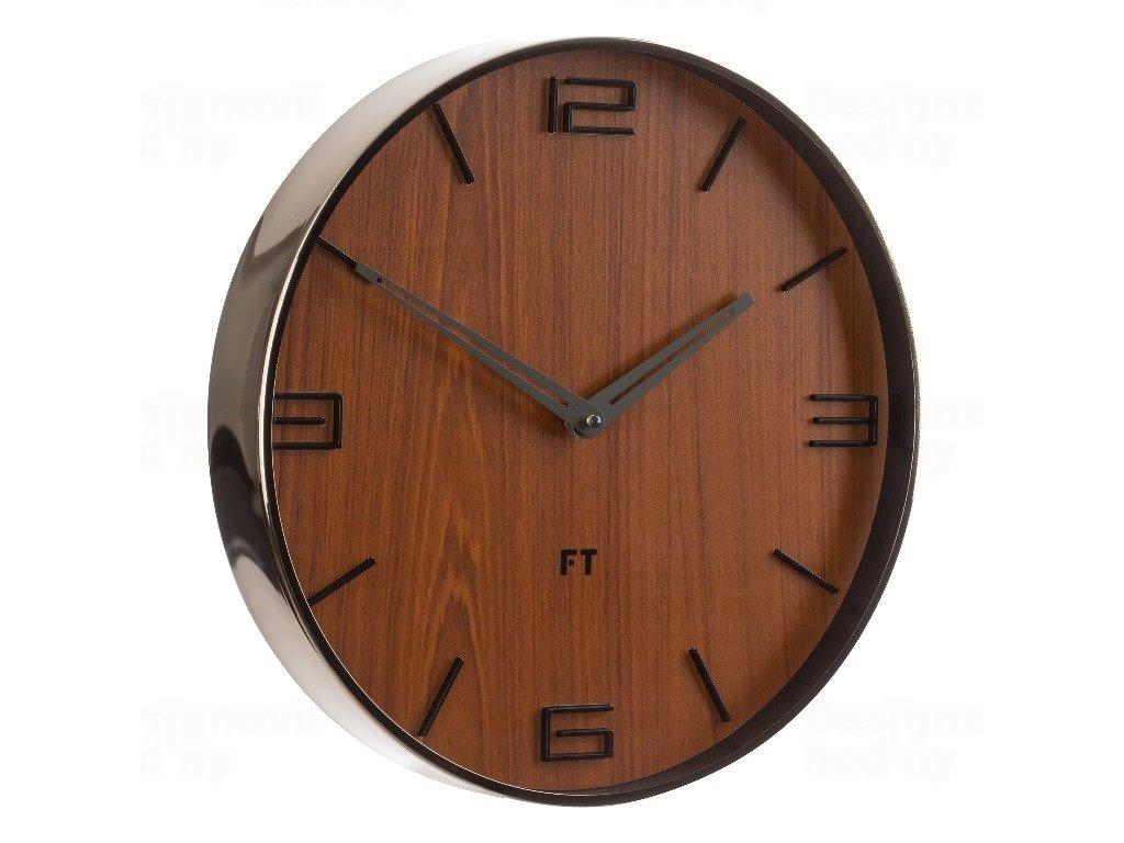 Designové nástěnné hodiny Future Time FT3010TT Flat walnut titanium 30cm