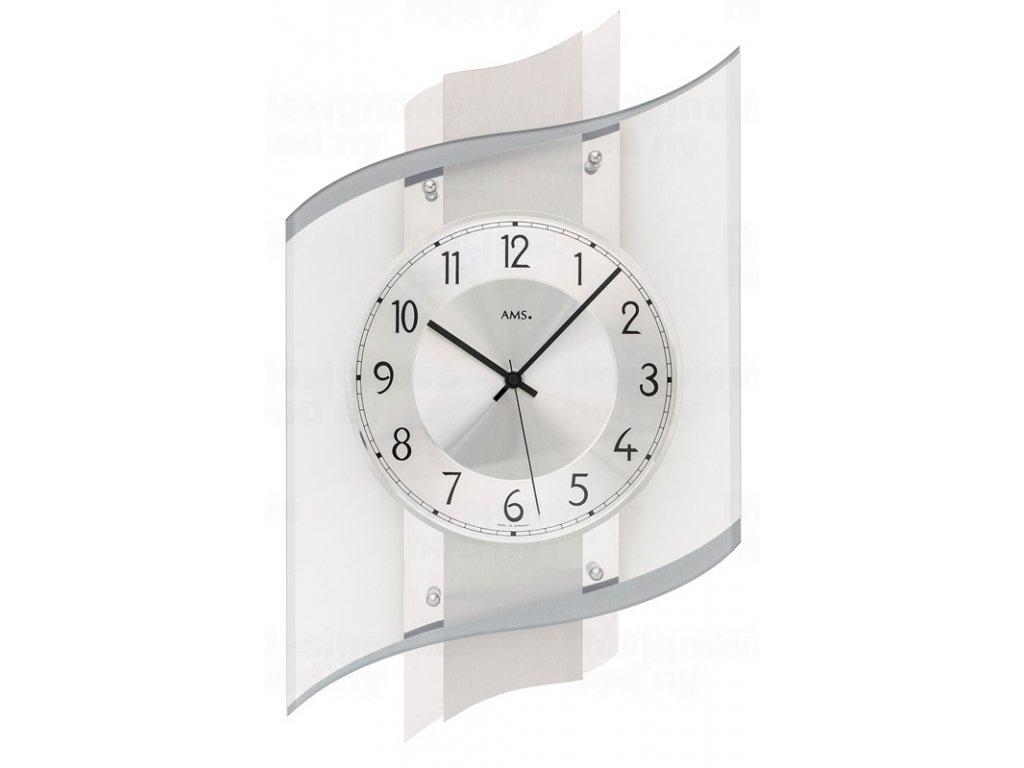 Designové nástěnné hodiny 5516 řízené rádiovým signálem AMS 48cm