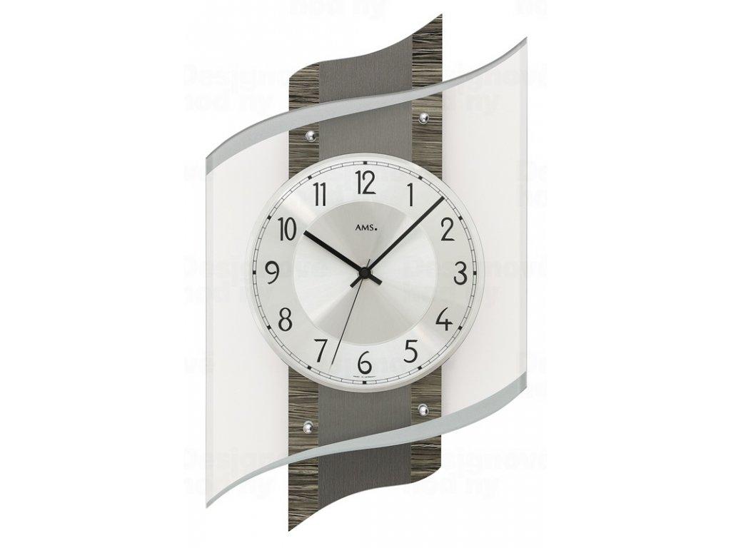 Designové nástěnné hodiny 5519 řízené rádiovým signálem AMS 48cm