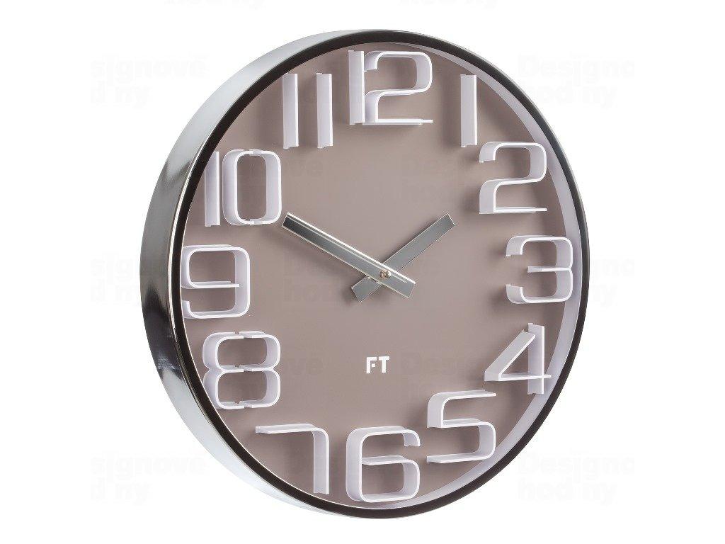 Designové nástěnné hodiny Future Time FT7010BR Numbers caffé latte 30cm