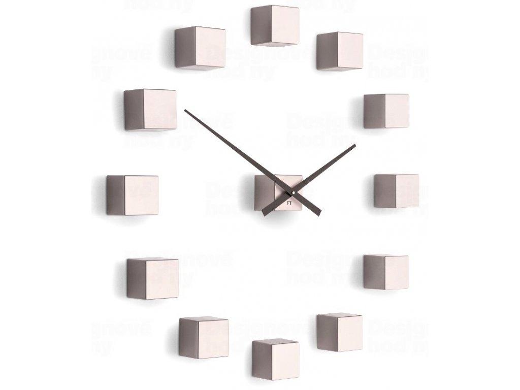 Designové nástěnné nalepovací hodiny Future Time FT3000PI Cubic pink