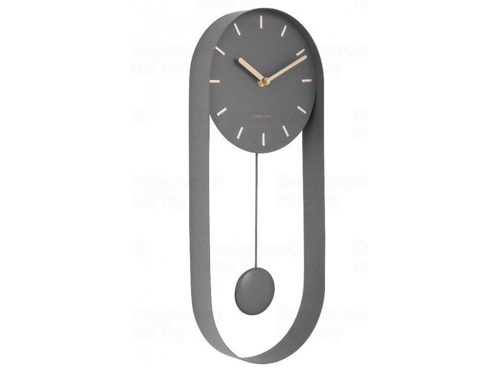 Designové kyvadlové nástěnné hodiny 5822GY Karlsson 50cm